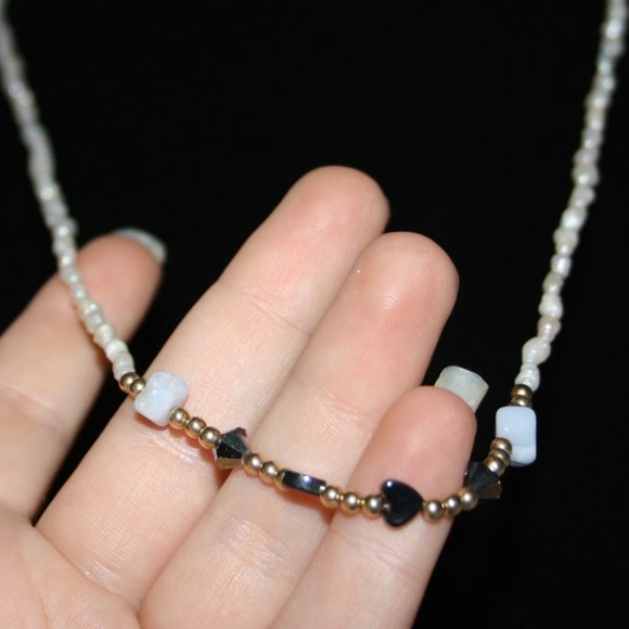 """Natural pearl and gold necklace with stones 32"""""""